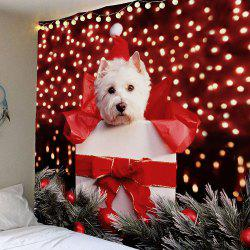 Waterproof Christmas Dog Printed Wall Hanging Tapestry - Colorful - W91 Inch * L71 Inch