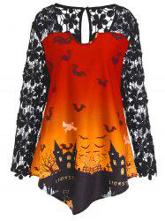 Plus Size Lace Panel Asymmetrical Halloween T-shirt - Orange - 5xl
