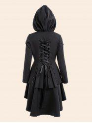 Lace Up High Low Plus Size Hooded Coat - Black - 5xl