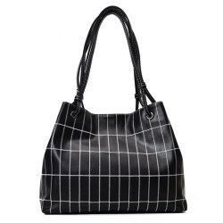 Faux Leather Stitching Plaid Shoulder Bag -