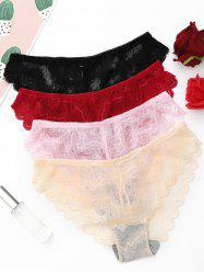 4 Pieces Semi Sheer Lace Panties - COLORMIX ONE SIZE