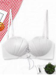 Shell Shape Lace-up Padded Bra - LIGHT GRAY 80B