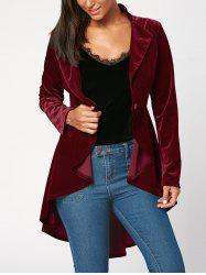 One Button High Low Velvet Peplum Blazer -