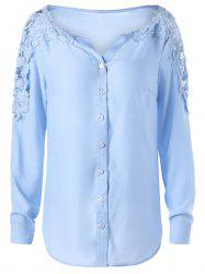 Lace Panel Hollow Out Long Sleeve Shirt - WINDSOR BLUE M