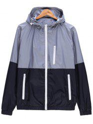 Two Tone Zip Up Hooded Lightweight Jacket - GRAY 3XL