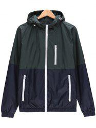 Two Tone Zip Up Hooded Lightweight Jacket - BLACKISH GREEN 3XL