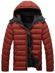 Zip Up Upchable Hood Quilted Jacket - Rouge Foncé 5XL