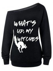 What's Up, My Witches Print Skew Neck Sweatshirt - Black - Xl