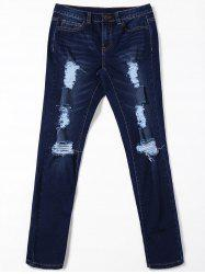 Cat  's Whisker Pockets Ripped Jeans - Noir Bleu M