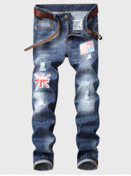 Straight Leg Flag Applique Bleached Ripped Jeans -