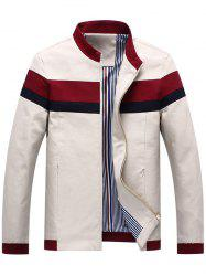 Casual Striped Zip Pocket Bomber Jacket - OFF-WHITE 3XL