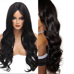 Long Middle Part Wavy Heat Resistant Synthetic Wig - JET BLACK #01