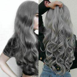 Center Parting Long Fluffy Loose Wave Synthetic Wig - Gray