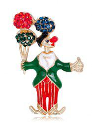 Rhinestones Insert Clown Take The Balloon Brooch - GREEN