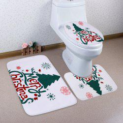 Merry Christmas Tree Pattern 3 Pièce de toilette Tapis de toilette - Multicolore