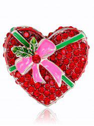 Faux Ruby Heart Shape Gift Box Brooch -
