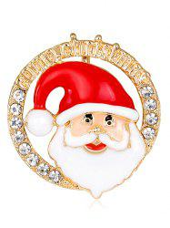 Round Shape Santa Claus Head Portrait Brooch -