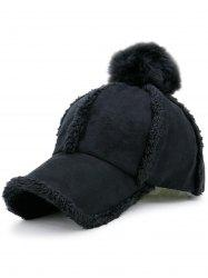 Faux Lambswool Panel Design Pom Baseball Hat - BLACK