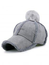 Faux Lambswool Panel Design Pom Baseball Hat - GRAY