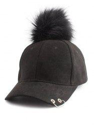 Pom Baseball Hat with Hoop Ring -