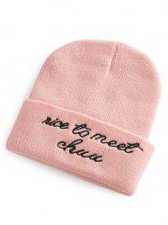 Nice To Meet Chuu Embroidery Flanging Knit Hat -