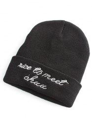 Nice To Meet Chuu Embroidery Flanging Knit Hat - BLACK
