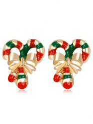 Christmas Bowknot Striped Candy Cane Earrings - COLORMIX