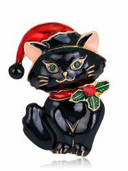 Rhinestone Kitten Christmas Hat Brooch - Black