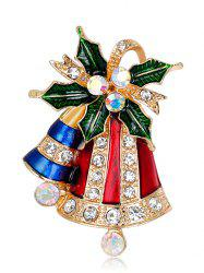 Rhinestone Christmas Tiny Bell Brooch - Red