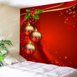 Christmas Baubles Print Tapestry Wall Hanging Decoration - Red - W91 Inch * L71 Inch