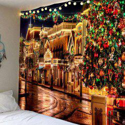 Christmas Decorative Street Patterned Hanging Wall Tapestry - Colorful - W91 Inch * L71 Inch