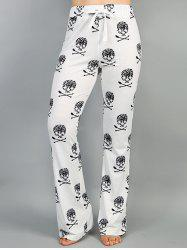 Drawstring High Waist Printed Pants - WHITE L