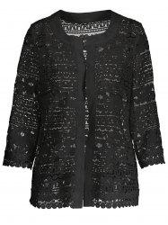 Short Plus Size Hollow Out Lace Jacket - BLACK 3XL