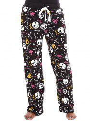 Skulls Print Drawstring Halloween Pants - COLORMIX XL