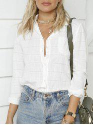 Long Sleeve Button Up Shirt - WHITE S