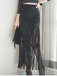 Faux Suede Fringed Maxi Skirt - BLACK S
