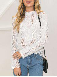 Lace Long Sleeve Openwork Top - WHITE S