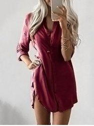 Button Down Tunic Dress - WINE RED XL