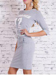 Printed Bodycon Dress with Pocket - GRAY L