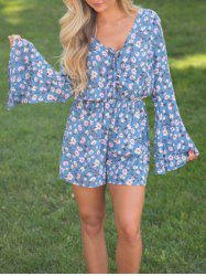 Flare Sleeve Lace Up Floral Romper - BLUE XL