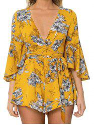 Flare Sleeve Plunge Neck Floral Romper - YELLOW L