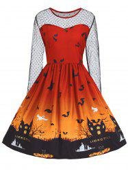 Plus Size Halloween Pumpkin Castle Print Vintage Dress - Orange - 5xl