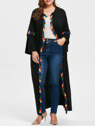 Plus Size Tassel Drop Shoulder Cardigan - BLACK 2XL