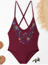 Cross Back Embroidered Plus Size Swimsuit - WINE RED XL