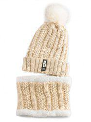 Letter B Label Knitted Pom Hat with Scarf - PALOMINO