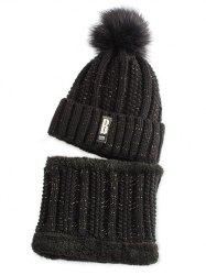 Letter B Label Knitted Pom Hat with Scarf - BLACK