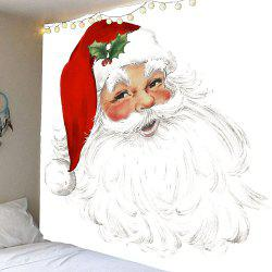 Smile at Santa Claus Pattern Waterproof Wall Art Tapestry - Red With White - W91 Inch * L71 Inch