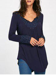 Polka Dot Asymmetrical Tunic Tee - PURPLISH BLUE S