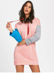Color Block Drawstring Mini Hoodie Dress - PINK M