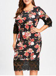 Midi Floral Sheath Plus Size Dress -